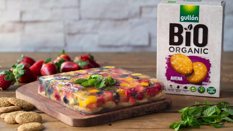 Aspic de frutas con base de galletas Avena Bio Organic