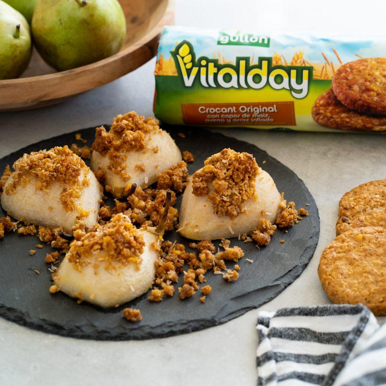GULLON VITALDAY - CROCANT PERAS al horno Con crujiente de galletas de avena