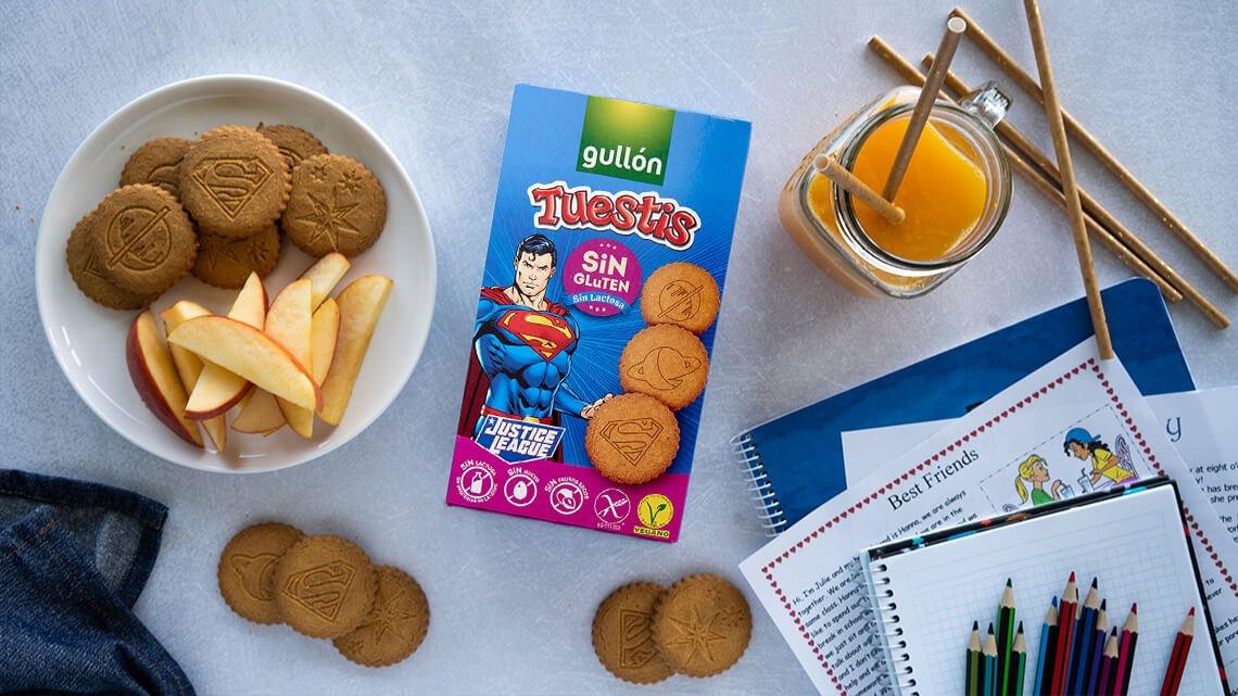 galletas gullon infantiles tuestis superman veganas sin alergenos sin lactosa sin frutos secos sin huevo