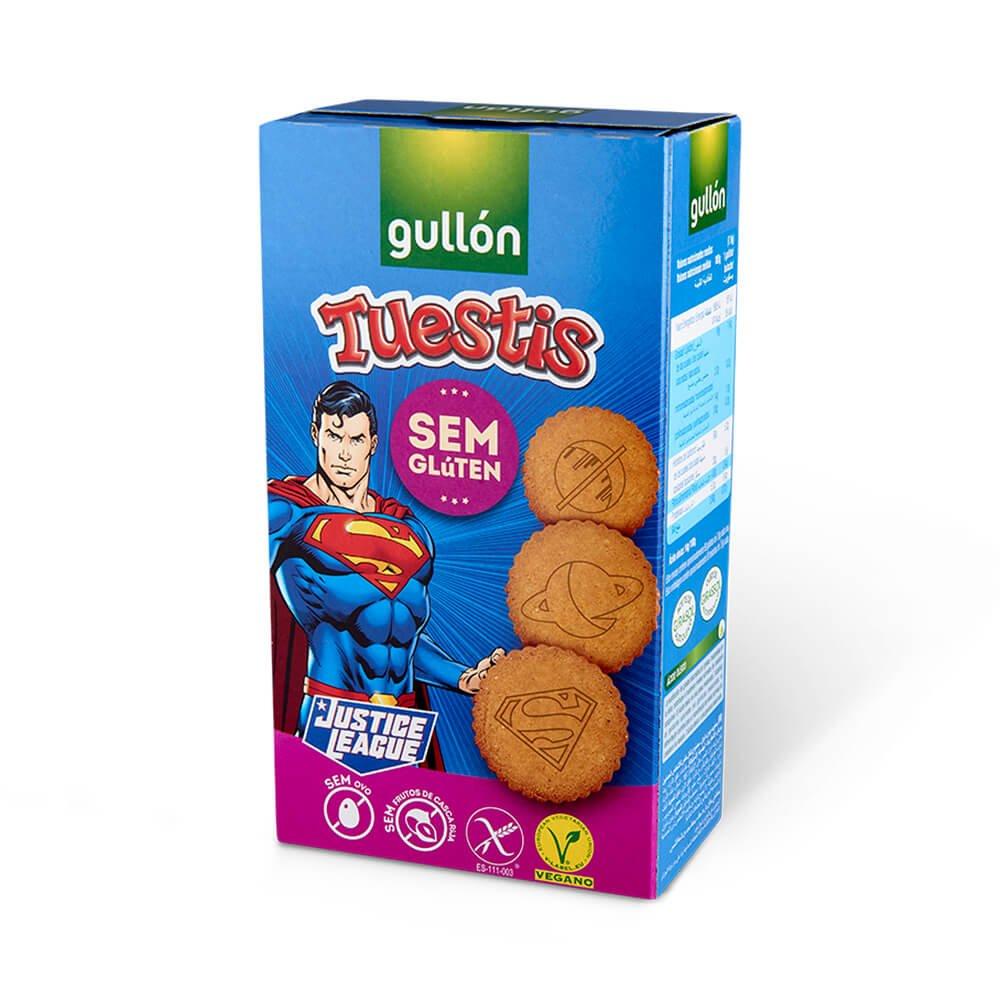 Tuestis justice league bolachas sem gluten sem ovo sem frutos de casca rija vegan