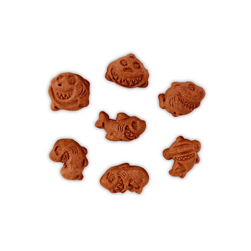 Bodegón galletas infantiles sharkies sin gluten sin huevo sin lactosa, sin proteinas de la leche